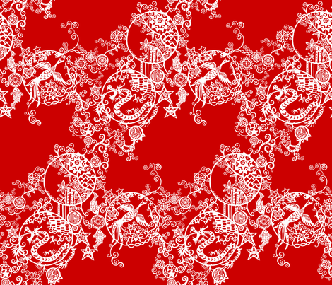 Pieces of China: Cascades on red fabric by ladykerry on Spoonflower - custom fabric