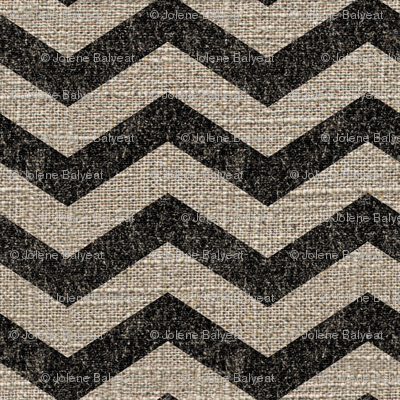 Chevron in Black on Linen