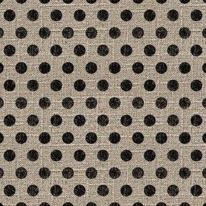 Dots in Black on Linen