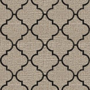 Moroccan Tile in Black on Linen