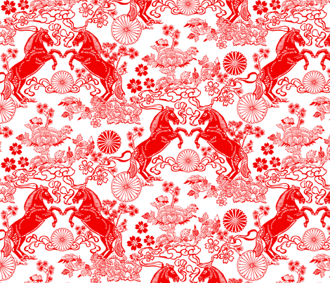 Chinese Horses and Peonies fabric by vinpauld on Spoonflower - custom fabric