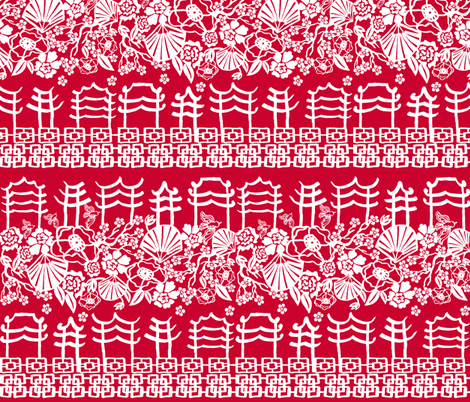 Pagoda Garden fabric by graceful on Spoonflower - custom fabric