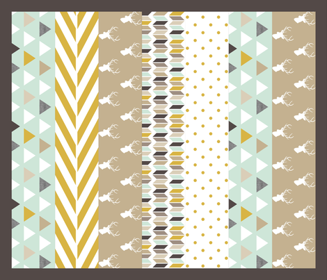 Tan Mint Deer Quilt fabric by mrshervi on Spoonflower - custom fabric