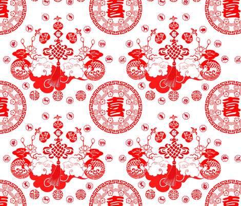 she likes hanging chinese paper cuts fabric by cornie on Spoonflower - custom fabric