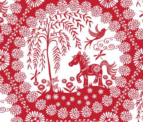 Year of the Horse fabric by kezia on Spoonflower - custom fabric