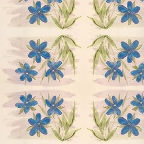 Blue Mauve Wash Floral