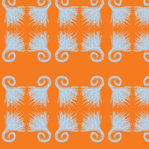 Four Fans/Orange and Blue
