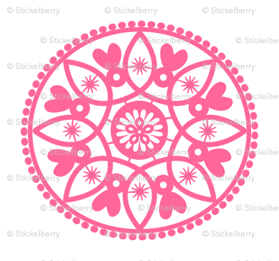 pink paper doily