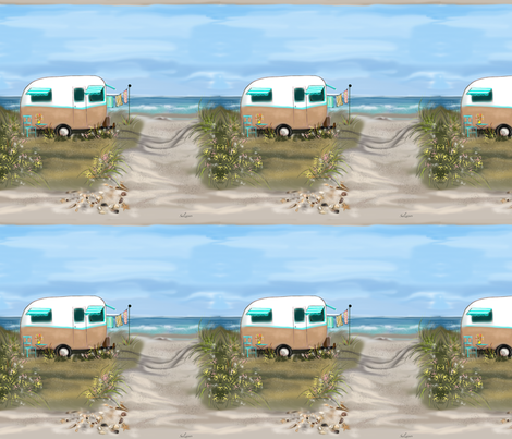 Camping at the Shore #1  fabric by salzanos on Spoonflower - custom fabric