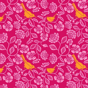 2_orange_WRENS_magenta_BACKGROUND_pink_flowers_4-1