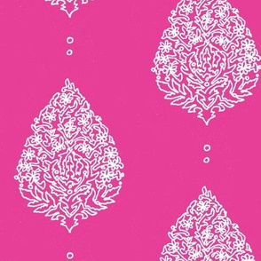 Moroccan Paisley Fuschia and white