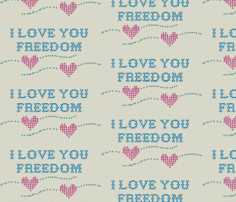 I love you freedom fabric by fantazya on Spoonflower - custom fabric