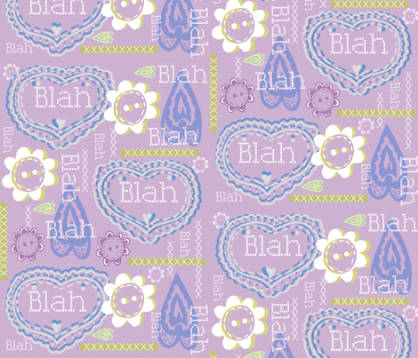 Valentines is...all Blah! Blah! Blah! fabric by slumbermonkey on Spoonflower - custom fabric