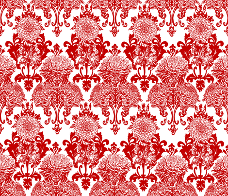 chrysanthemum damask fabric by artytypes on Spoonflower - custom fabric