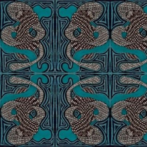 elephants in blue teal