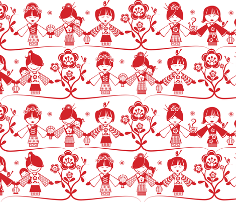 Little China Dolls fabric by mulberry_tree on Spoonflower - custom fabric