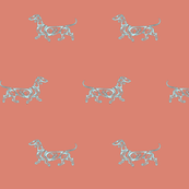 Little Swirl Dachshund in Coral and Mint