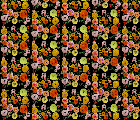 Watercolor Poppies on Black fabric by theartwerks on Spoonflower - custom fabric