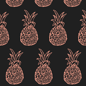 Pineapple Party in Coral Pink and Charcoal Grey