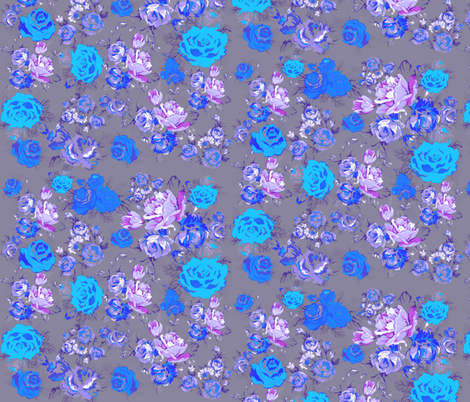 Vintage Inspired Floral in Grey and Blues fabric by theartwerks on Spoonflower - custom fabric