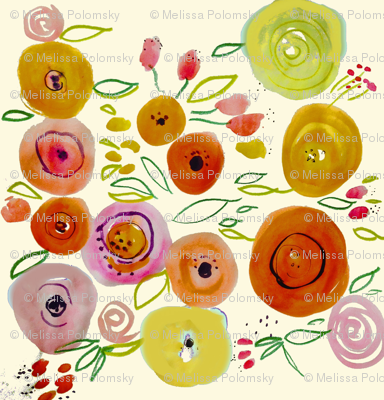 Watercolor Poppies on Ivory