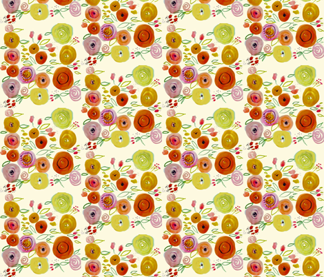 Watercolor Poppies on Ivory  fabric by theartwerks on Spoonflower - custom fabric