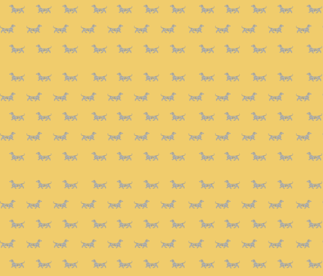 Little Swirl Dachshund in Summer Yellow and blue fabric by theartwerks on Spoonflower - custom fabric