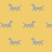 Little Swirl Dachshund in Summer Yellow and blue
