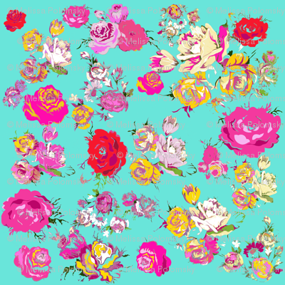 Vintage Inspired Floral print in Spring Pinks and Mint