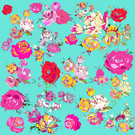 Vintage Inspired Floral in Pink //Mint fabric by theartwerks on Spoonflower - custom fabric