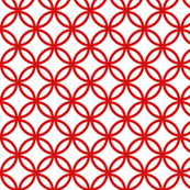 Chinese fretwork, circles, red