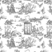 phone boxes Toile de Jouy grey