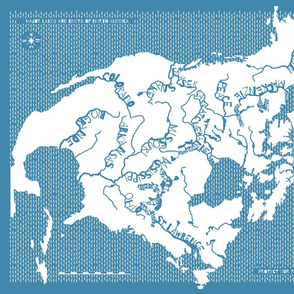 Map of North American Rivers, blue