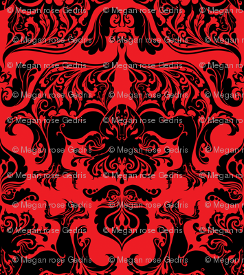 I Love Craft (Cthulhu Damask) Black and Red