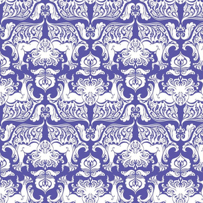 I Love Craft (Cthulhu Damask) White and Purple