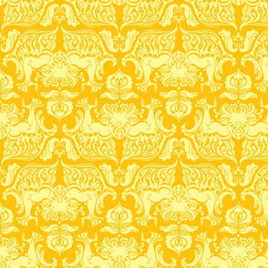 I Love Craft (Cthulhu Damask) Yellow