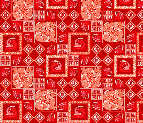 Kohaku The Red Koi Fish [Chinese Papercraft 137] fabric by phosfene on Spoonflower - custom fabric