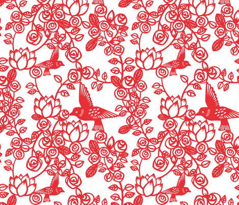 Paper cut roses fabric by toveform on Spoonflower - custom fabric