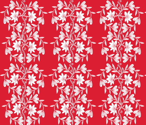 Chinese Inspired Paper Cutting - Floral Love fabric by madex on Spoonflower - custom fabric