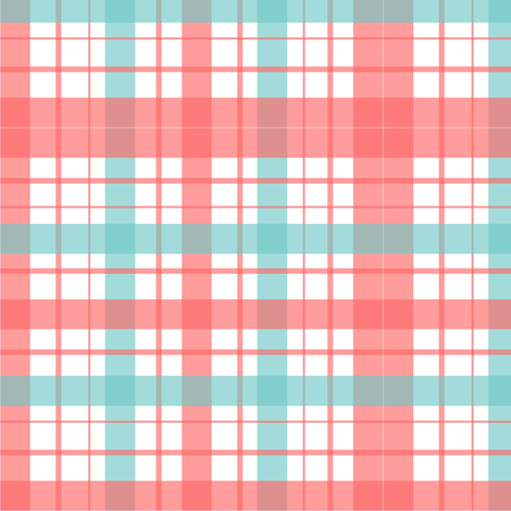 Plaid Pink turquoise fabric by carolinaabarca on Spoonflower - custom fabric