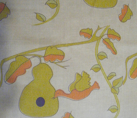 FCQ Bird House Gourd on Linen