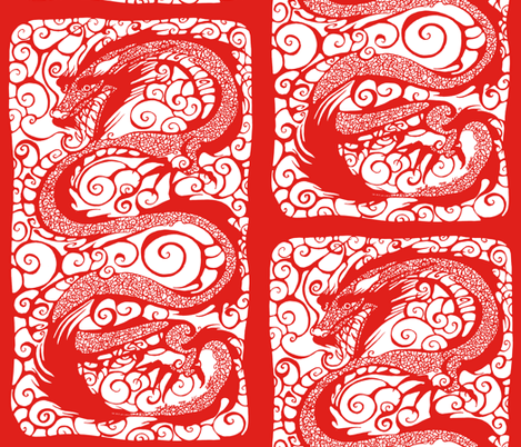 NIB Red Dragon III fabric by art_rat on Spoonflower - custom fabric