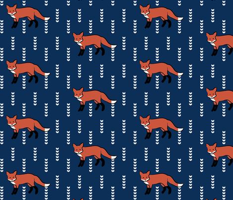 Navy Fox fabric by mrshervi on Spoonflower - custom fabric