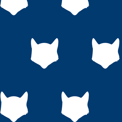 Navy Fox Silhouette fabric by mrshervi on Spoonflower - custom fabric