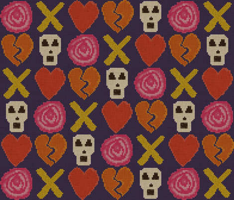 cross stitch cross love fabric by scrummy on Spoonflower - custom fabric