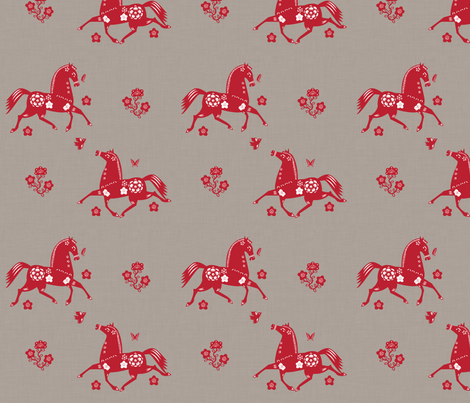 Year of the Horse Papercut Fabric fabric by jenimp on Spoonflower - custom fabric