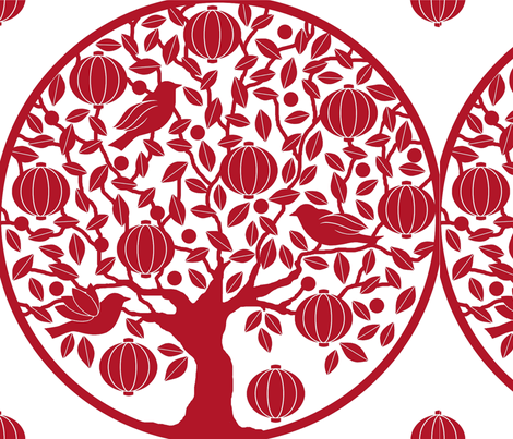 The_Red_Lantern_Tree fabric by divadeba on Spoonflower - custom fabric