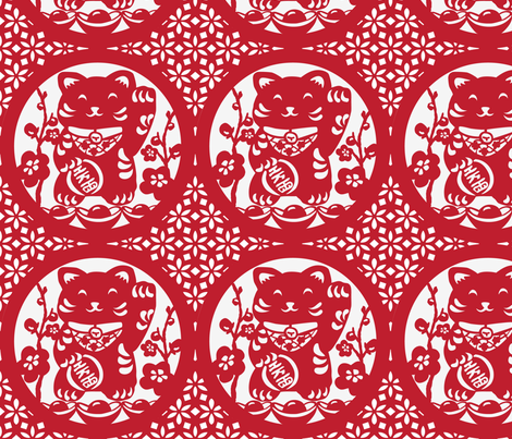 LUCKY CAT  fabric by shimmermotif on Spoonflower - custom fabric