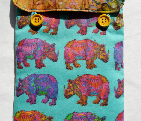 RHINOCEROS PROCESSION on turquoise