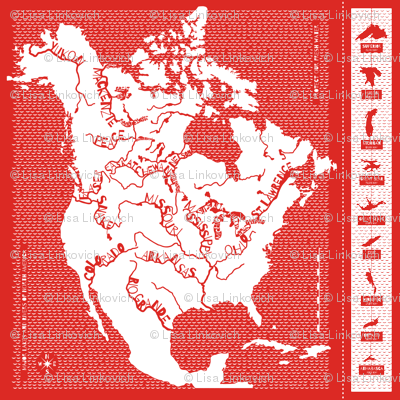 Major Lakes & Rivers of North America - red